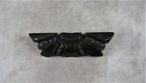 Original Vintage Art Deco Large Deep Carved Black Bakelite Brooch 3 Large Flowers  Featured In Warmans 4th Edition Jewelry Book Page 140