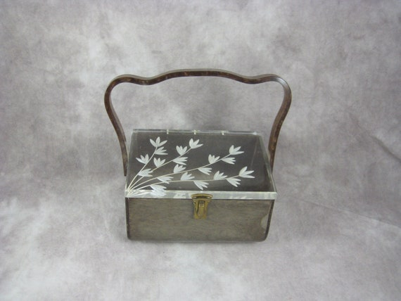 1950s Lucite Handbag - Thick Carved Clear Lucite L