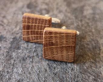 Square Irish Whiskey Barrel Wooden Cufflinks,5 Year Wedding Anniversary gift, Groomsmen gift , Groom cufflinks, Unique gift,Gifts for men