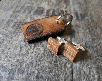 Square Cufflinks and Key ring handcrafted from recycled Irish Whiskey Barrel -Gifts for him,Groom gift,Groomsmen cufflinks,Suit cufflinks