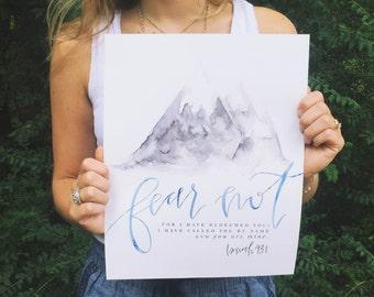 Scripture Print   Watercolor Calligraphy Art   Fear Not   Isaiah 43:1   Bible Verse Wall Art Decor   Mountain