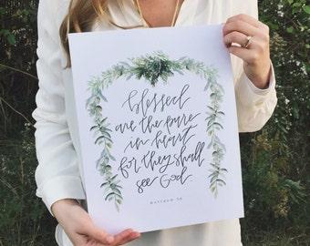 Christian Wall Art | Handlettered Print | Scripture Home Decor | Beattitude | Matthew 5:8 | Bible Verse Wall Art Decor | Green