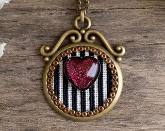 Heart and stripes necklace, Holographic red heart pendant, Black and white stripes embroidered necklace, Heart cross stitch pendant SJ 062