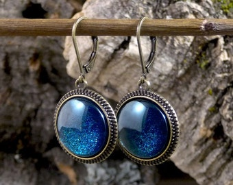 Dark blue earrings, Deep blue sparkly earrings, Royal blue earrings, Blue glitter earrings, Antique brass earrings Glass dome jewelry SJ 063