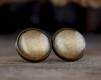 Golden stud earrings, Golden earrings, Small earrings, Golden studs, Everyday post earrings, Handmade earrings, Minimal earrings SJ 061
