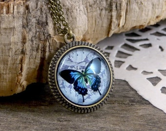 Blue butterfly necklace, Glass butterfly pendant, Vintage butterfly jewelry, Nature jewelry, Blue jewelry, Butterfly lover gift WJ 006