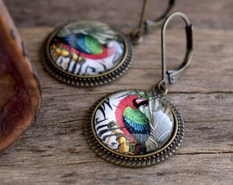 Parrot earrings, Bird earrings Parrot jewelry, Tropical earrings Animal earrings, Macaw earrings, Colorful earrings,Parrot lover gift TJ 071