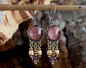 Plum sparkling dangle earrings, Marsala earrings, Vintage style earrings, Glass dome earrings, Boho wedding gift, Bohemian jewelry SJ 089