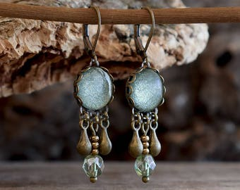 Sage green earrings, Seafoam green jewelry, Dangle earrings Aqua earrings, Boho earrings Wedding earrings, Beaded earrings glass dome SJ 092