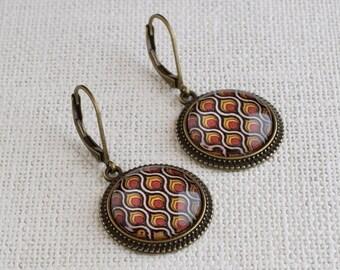 Retro geometric earrings, Orange brown earrings, Retro jewelry, Geometric jewelry, Orange retro earrings, Geometric dangle earrings GJ 080