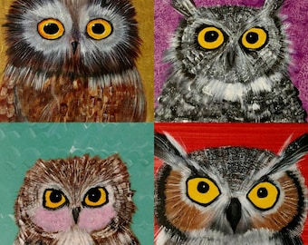 The Owl Portraits - set of 4 blank note cards with envelopes