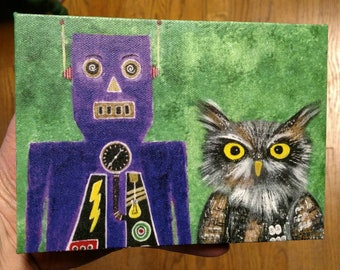 Owl and Robot (green) - gallery-wrapped print on canvas - 5 inches by 7 inches