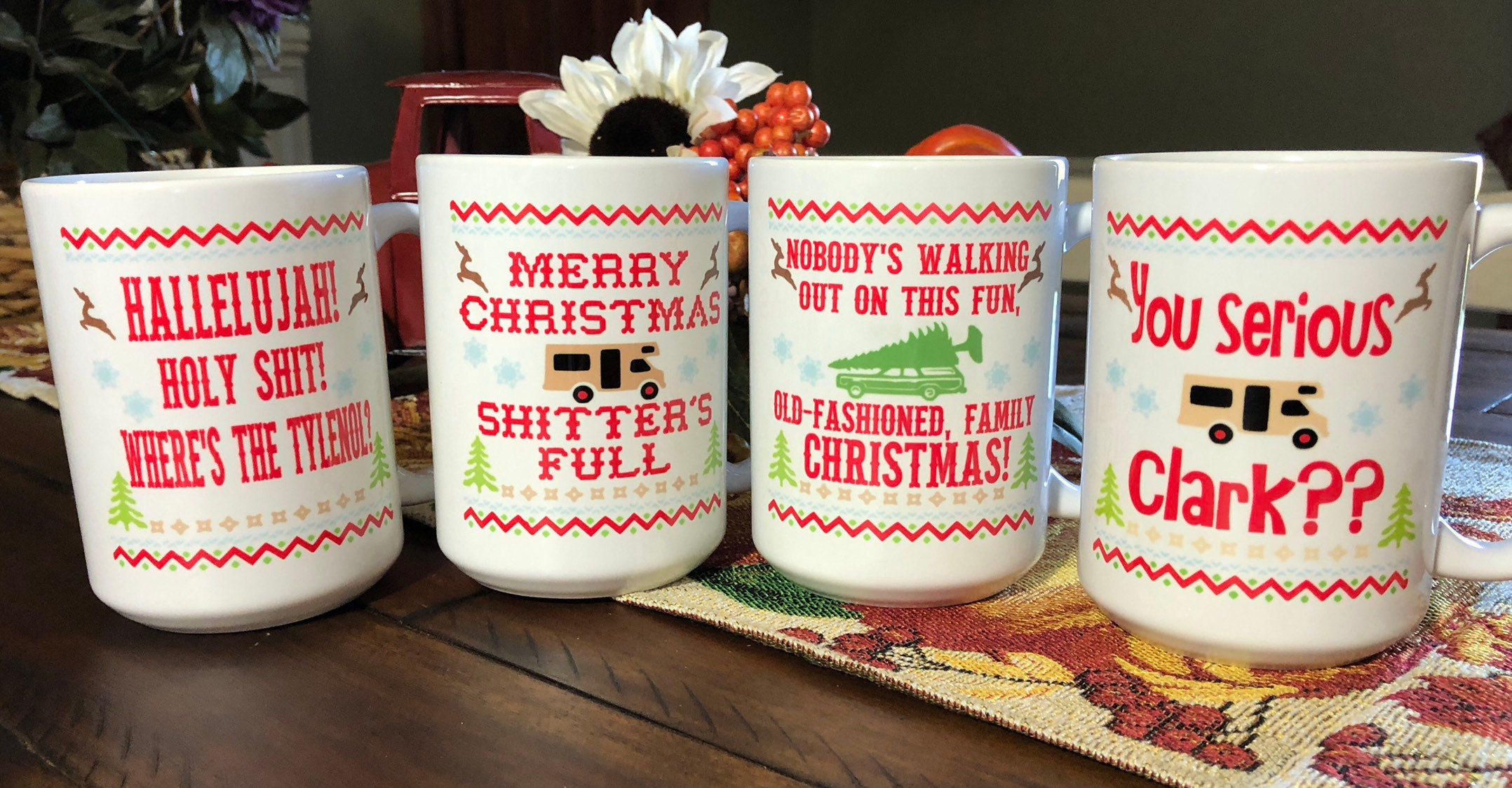 Set of 4 Christmas Vacation Movie Quote Coffee Mugs/Cups 11 or | Etsy