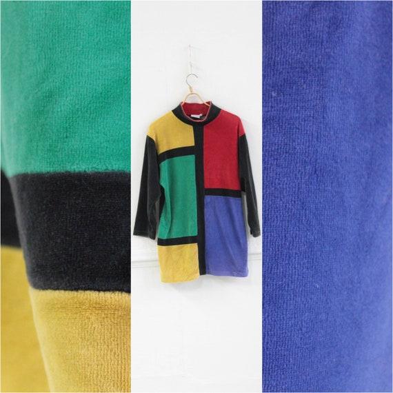 Colorblock velvet jumper, Colorful Long sleeve 80s