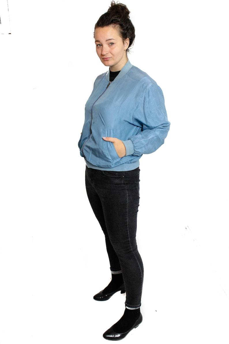 Vintage Silk bomber jacket Zip up 80s Blue silk jacket  Size Medium to Large