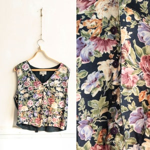 Rose print vest Black vest with gold floral pattern  Size XS to Small