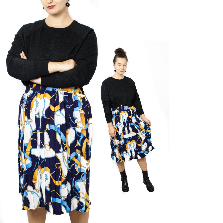 jupe midi jupe bleu marine jupe accord on jupe pliss e etsy. Black Bedroom Furniture Sets. Home Design Ideas