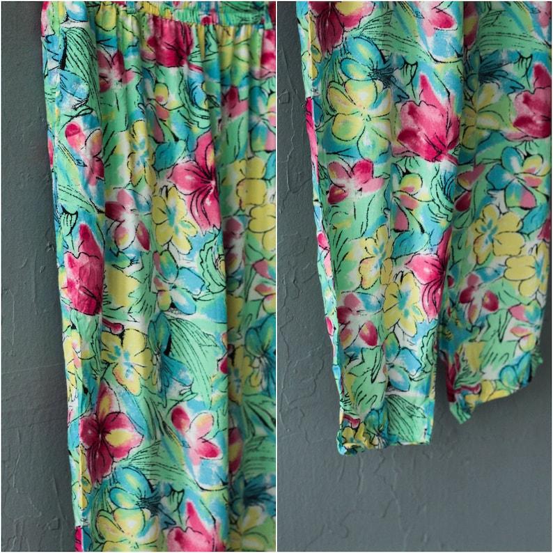 Flower print trousers Floral pants Colorful joggers  Size Medium