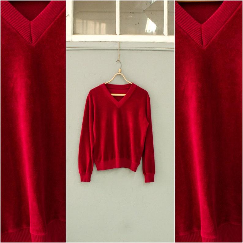 2acfbbed87c6 Raspberry red velour jumper Velvet pullover Velvet v neck
