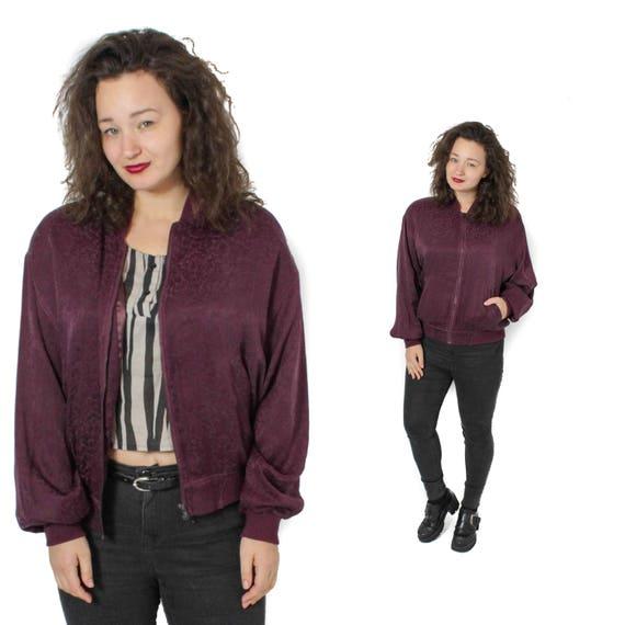 Silk Bomber, Bomber jacket, Burgundy jacket, Flora