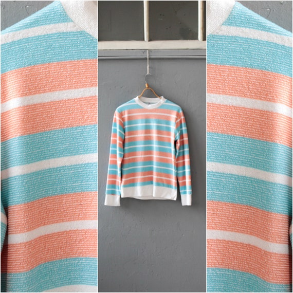 Striped terrycloth pullover, 90s Sport jumper, Bab