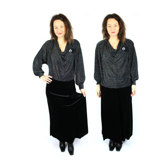 Vintage Lurex Shirt, Black Metallic Blouse , 80s d