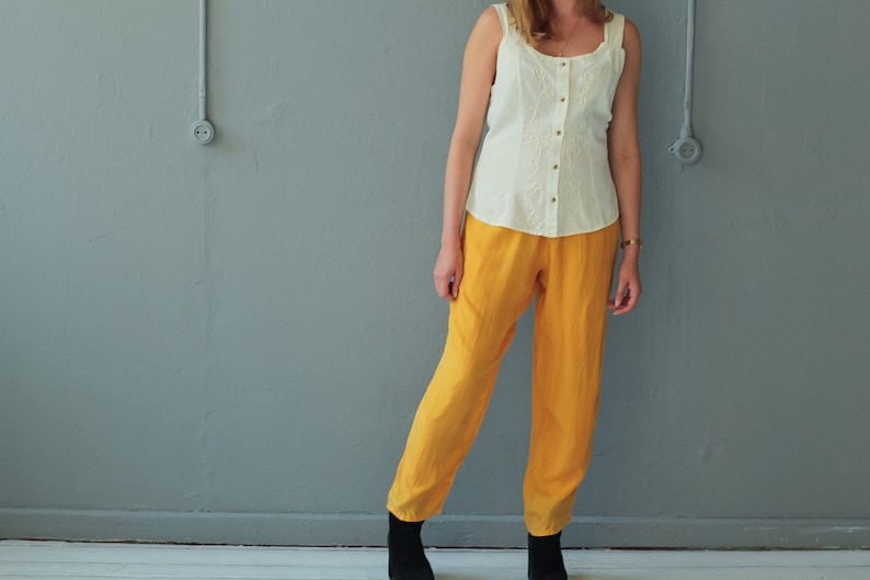 5e8422789b6a Yellow Silk trousers Vintage Bright Yellow trousers Silk