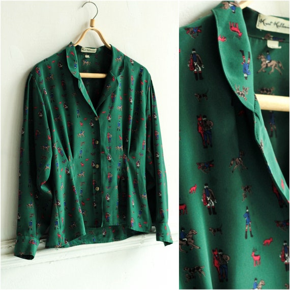 Horse print Blouse, Forest green blouse, Deep v ne