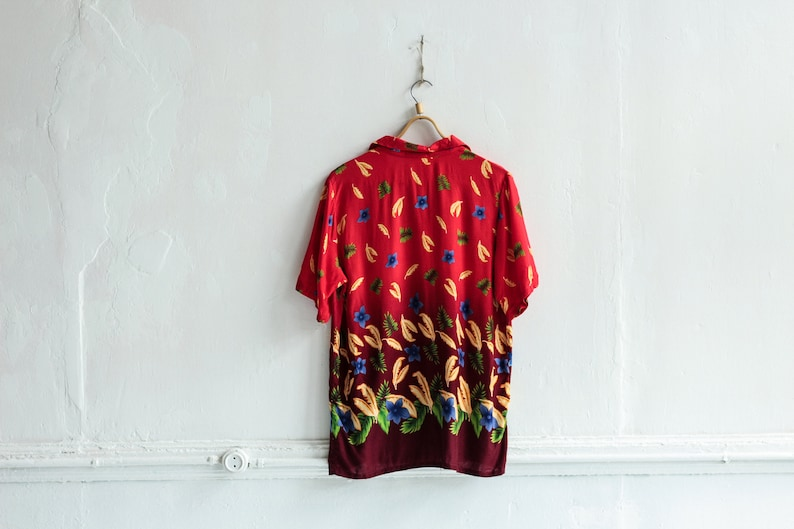 Red Summer blouse Button up Womens Short sleeve shirt  Size XL Plus size Palm print top