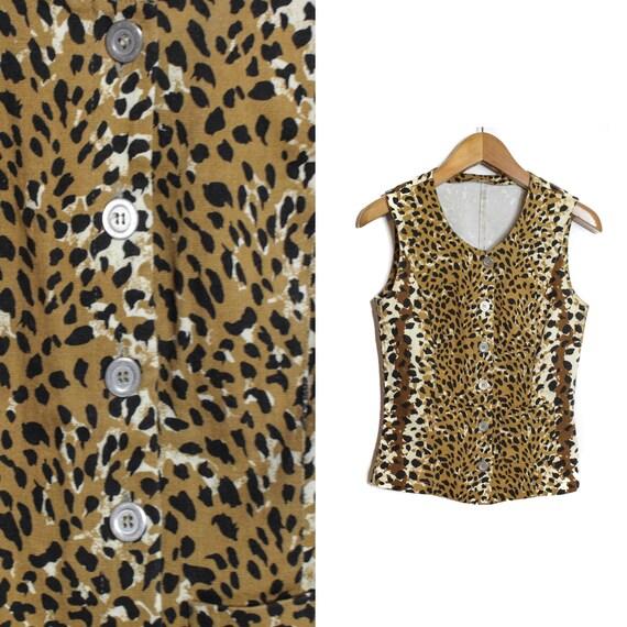 3c187711172c0 Cheetah print vest Leopard vest Animal Print top Vintage