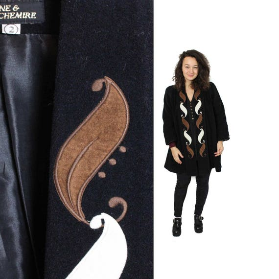 Black Minimalistic coat, Wool Swirl coat, Emroider