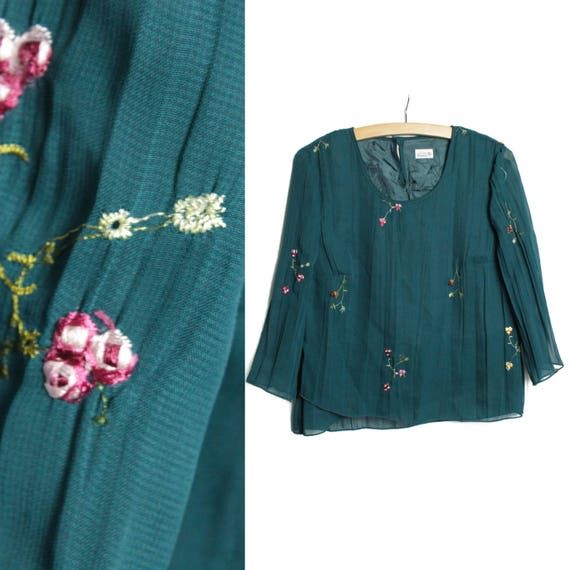 Moss green blouse, Embroidered  shirt, Wide sleeve