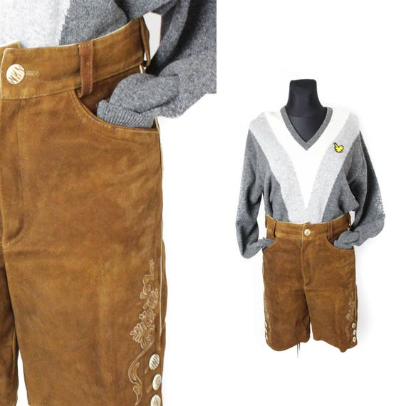Leather shorts, Loden Suede shorts, Dirndl Wide le
