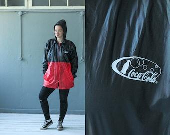 Coca cola rain jacket, Vintage rain jacket , Colorblock jacket, Nylon jacket, Vintage jacket, Black and red jacket, Sport jacket / Large