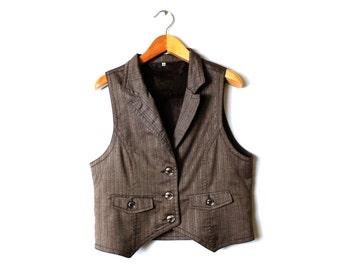 Vintage 80s Lurex Waistcoat Brown Silver stripes Vest Steampunk Women Classic Steampunk /  XL Large