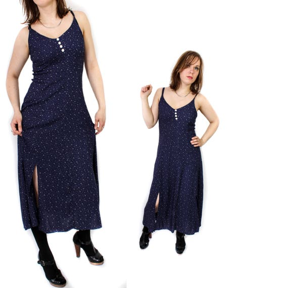 Vintage navy slip dress, Maxi Polka dot Sleeveless