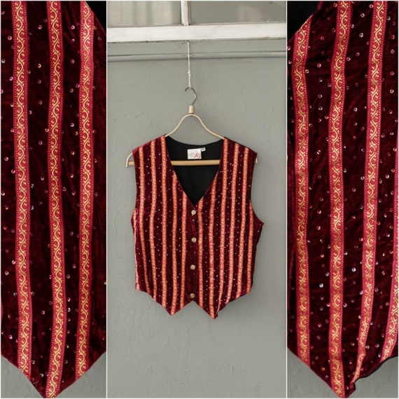 Red velvet vest, Victorian Sequin waistcoat, Strip