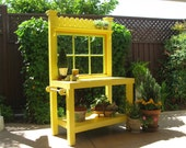 LOCAL DELIVERY ONLY- Yellow Potting Bench with Vintage Window