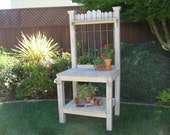 LOCAL DELIVERY ONLY - Weathered Finish Potting Bench with Decorative Iron Insert