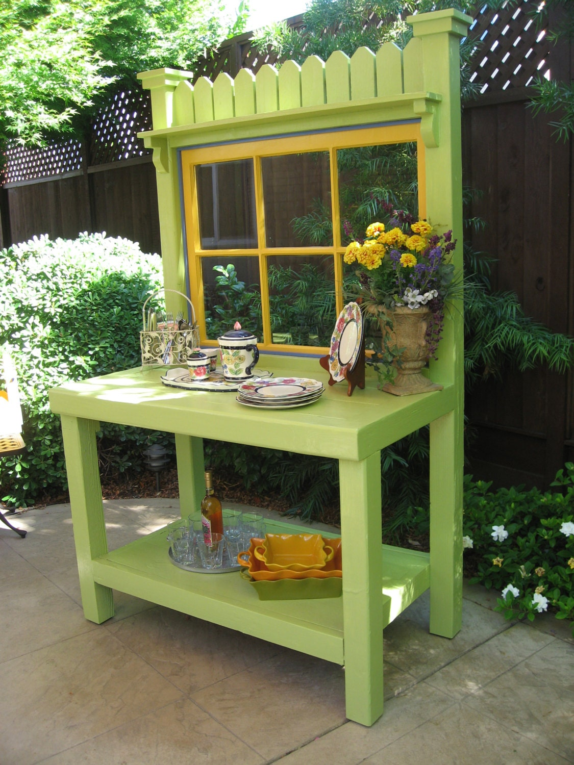 Green Potting Bench With Vintage Window Etsy