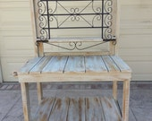 LOCAL DELIVERY ONLY -Potting Bench – Whitewashed Vintage Iron