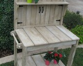 LOCAL DELIVERY ONLY-Small Weathered Potting Bench with Round Gate Top