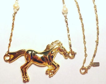 Gold Horse and Pearls