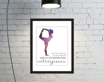 Printable Typographic Yoga Art, Yoga Silhouette Print,  Yoga Dancers Pose, Purple & White Wall Decor, Dancers Pose Print, Yoga Pose, 8x10