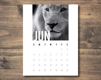 Printable Calendar in Black and White, Animal Calendar, Nature Calendar, 2018 Calendar, Monthly Calendar, Letter Size