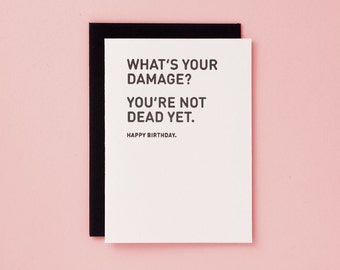 What's Your Damage? / Letterpress Card