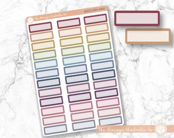 Rainbow Appointment Labels Muted Rainbow Basic Event Planner Stickers Stitched Event Labels #922-004-068L-WH