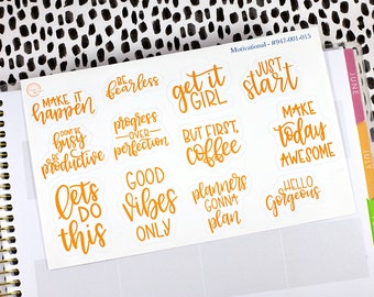 Motivational Planner Stickers Positive Reinforcement Stickers Clear Transparent With White Ink Motivation Stickers #947-001-002-C