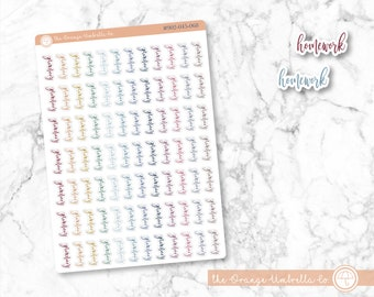 Muted Rainbow Colored Tracking Stickers Homework Stickers #902-045-068L-WH ScriptHomework Stickers for Planner