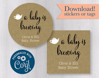 #245-KR-CJ A Baby Is Brewing Tags or Stickers DIY Printable Template Downloadable Stickers Tea or Coffee Favors for Baby Shower